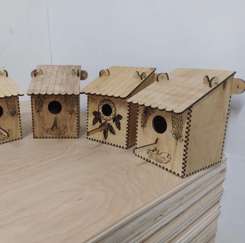 Laser Cut Wooden Wall Mount Bird Feeder Free Vector