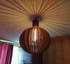 Laser Cut Modern Pendant Light Wooden Round Shape Pendant Lamp Free Vector