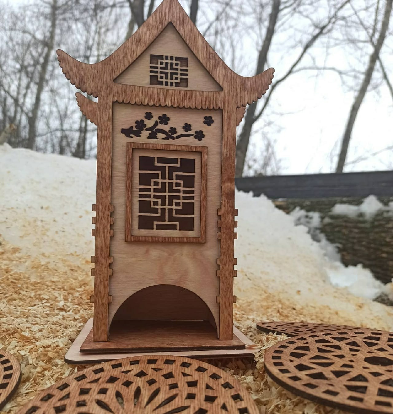 Laser Cut Chinese Traditional House Shaped Tea House DXF File