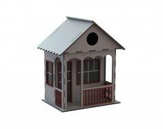 Laser Cut Decorative Wooden Bird House Free Vector