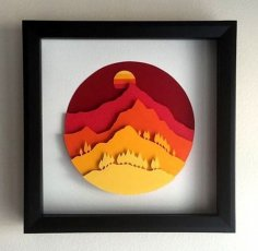 Laser Cut Decor Wall Art Tree Mountain Sun Free Vector