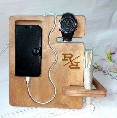Laser Cut Phone Wallet Watch Organizer Free Vector