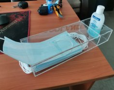 Laser Cut Acrylic Box For Face Masks And Sanitizer 3mm Free Vector