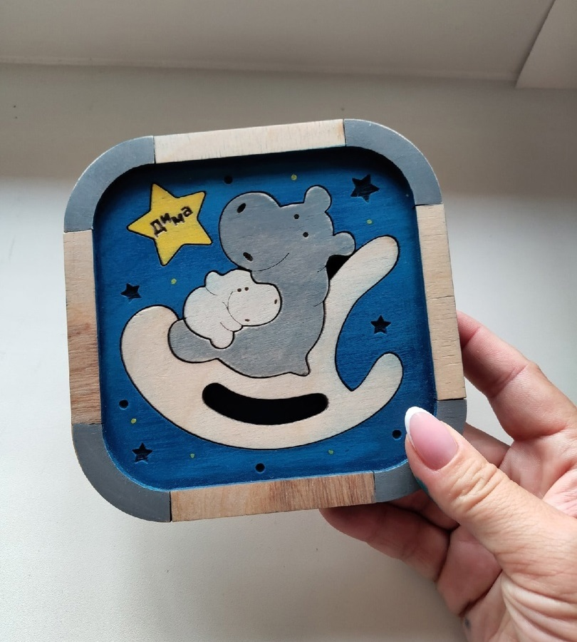 Laser Cut Hippopotamuses Puzzle For Kid Free Vector