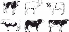 Cows Vector Set Free Vector