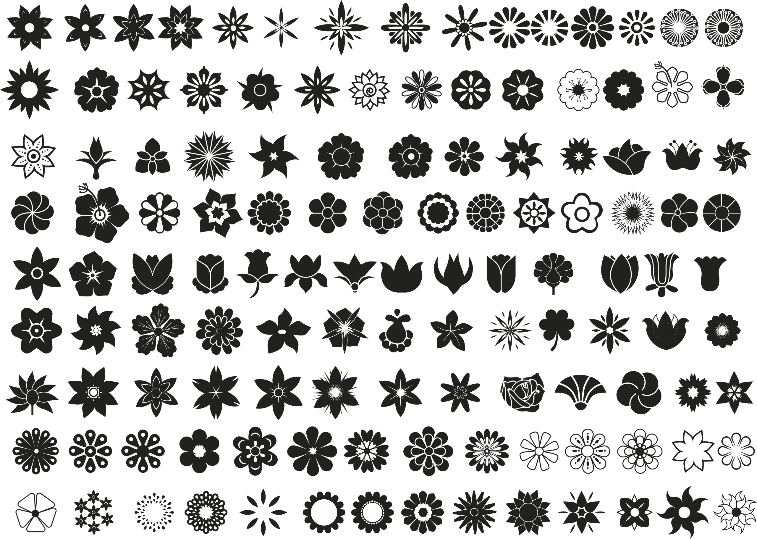 Flower Vector Set Free Vector