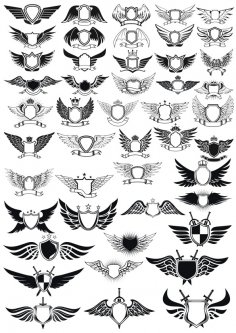 Wings Emblem Set Free Vector