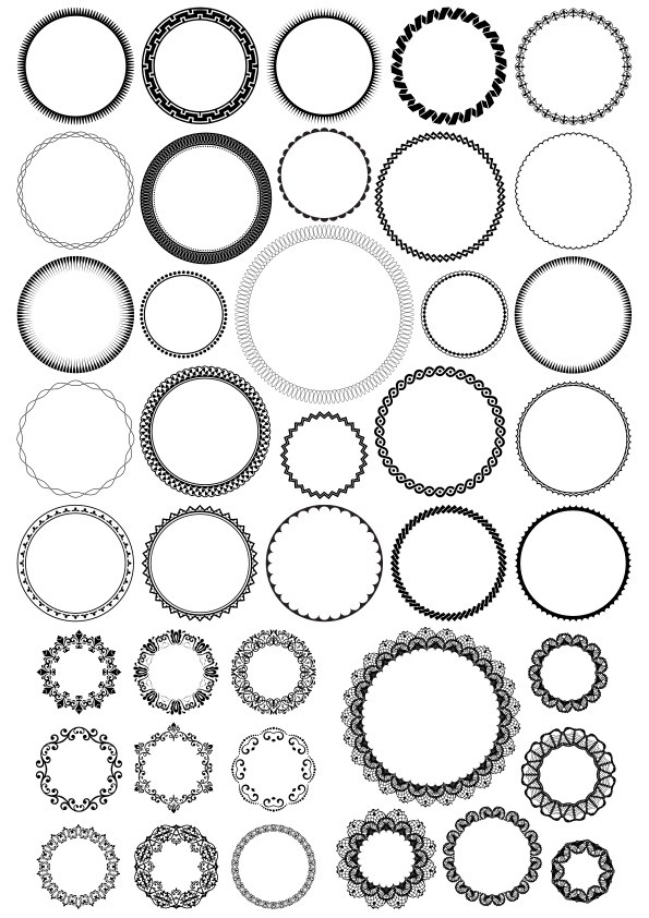 Decorative Round Frame Set Free Vector