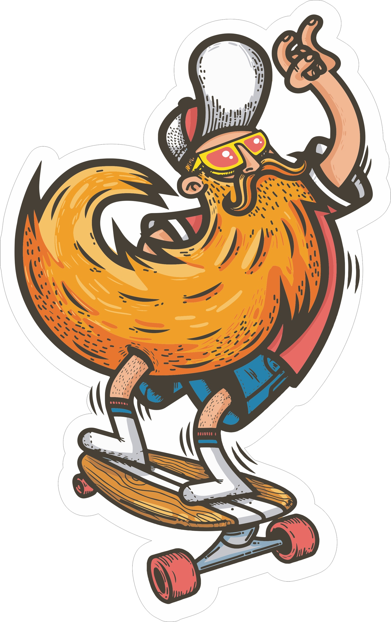 Skater Sticker Free Vector