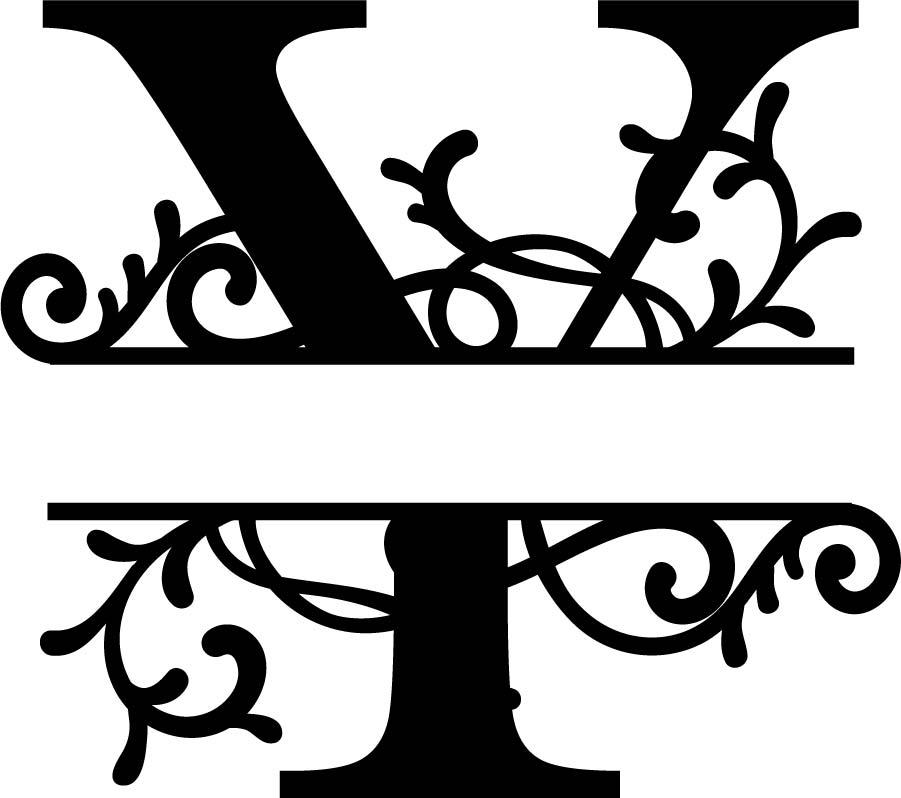Split Monogram Letter Y DXF File