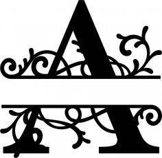 Split Monogram Letter A DXF File