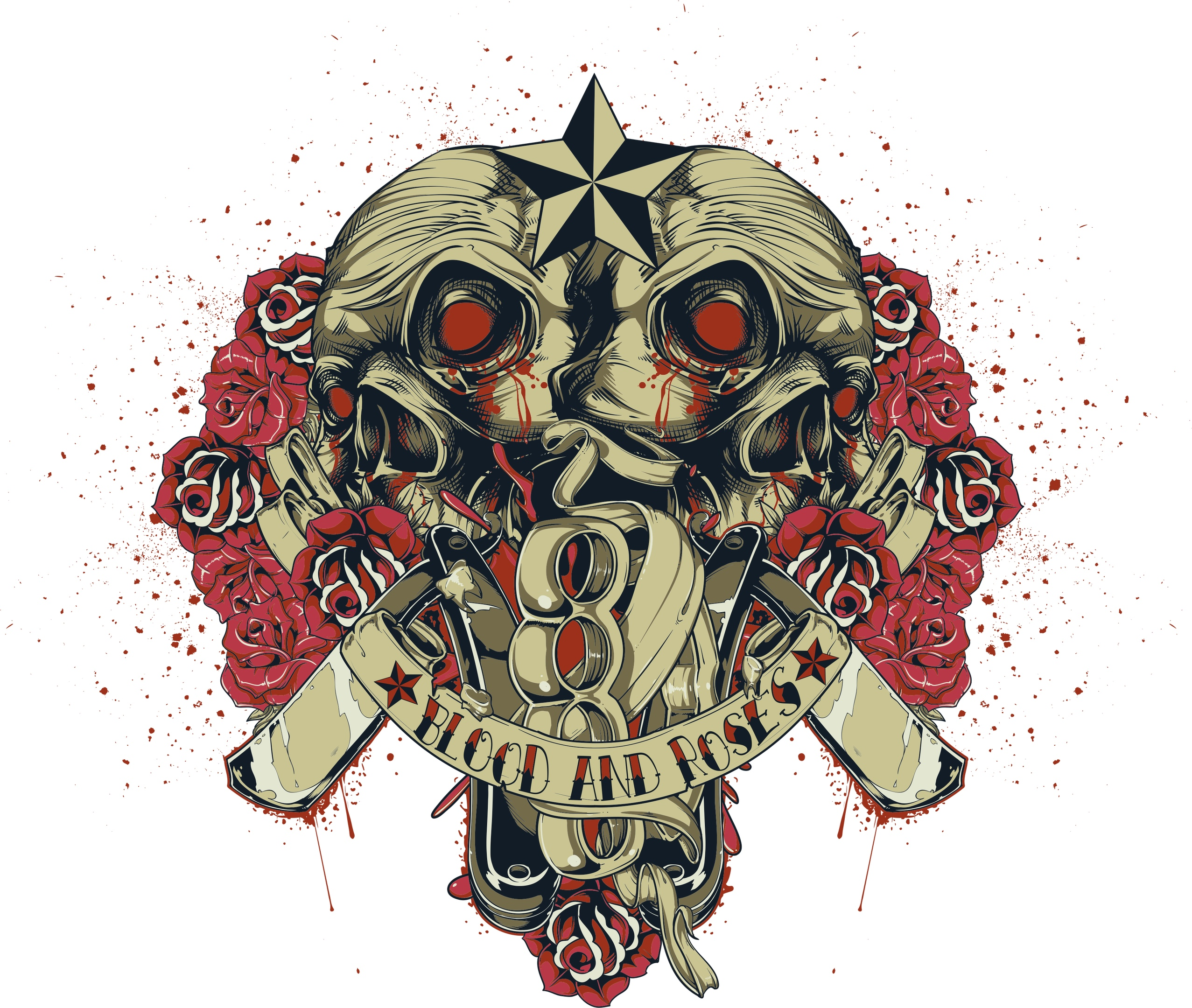 Blood And Roses Print Free Vector