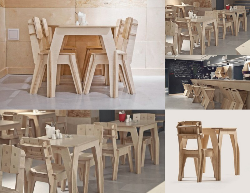 Plywood Cafe Furniture Set Chair Table Dxf File Free