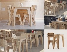 Plywood Cafe Furniture Set Chair Table DXF File