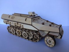 Laser Cut Armored Personnel Carrier APC 3D Model Wooden Toy Free Vector