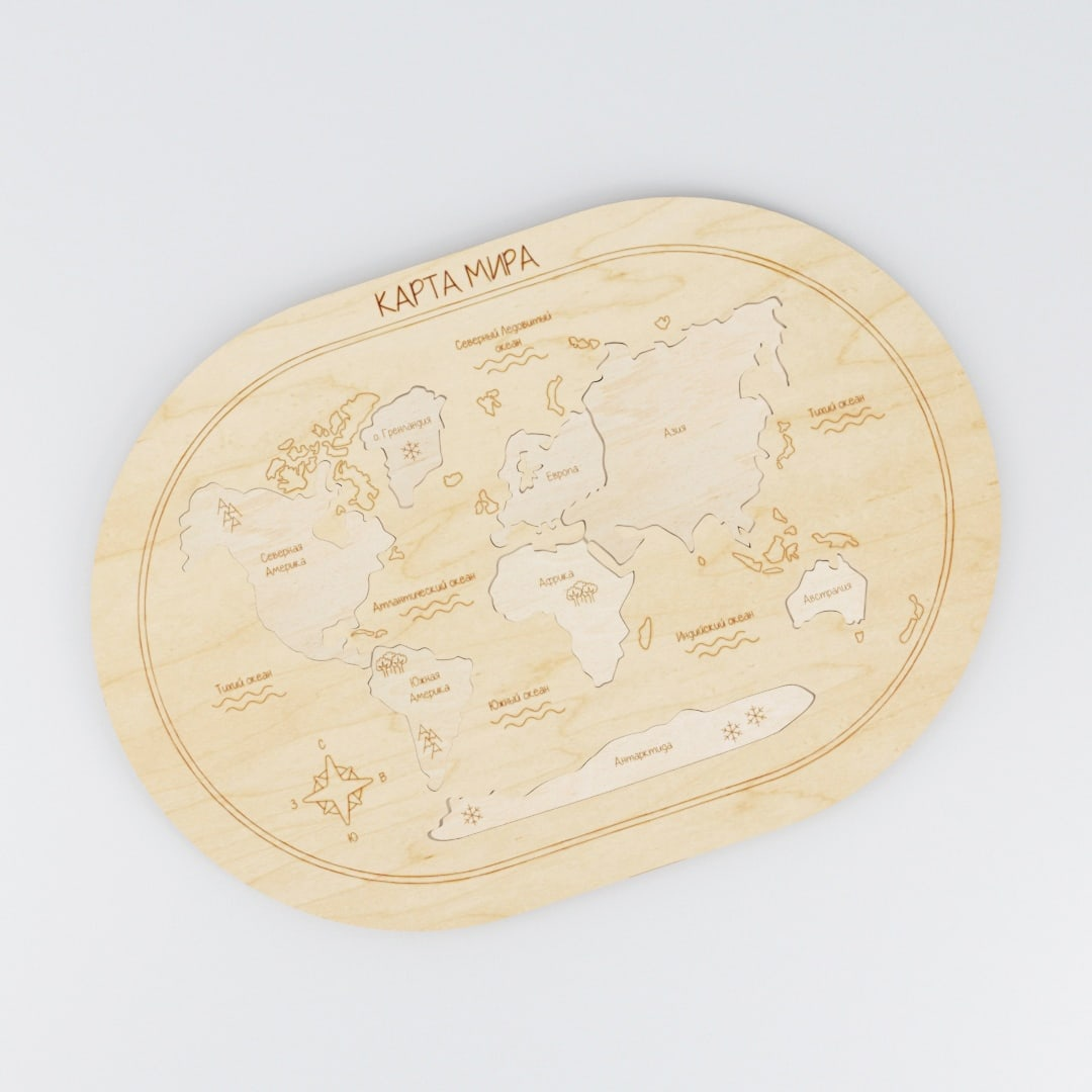 Laser Cut World Map Peg Jigsaw Puzzle Toy Free Vector