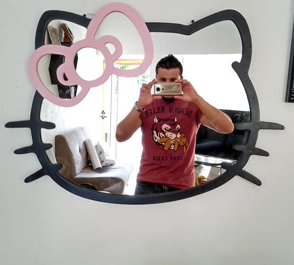 Laser Cut Hello Kitty Mirror Frame Free Vector