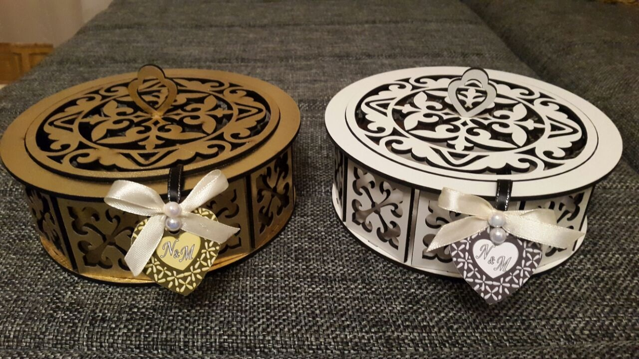 Laser Cut Decorative Wooden Round Box Candy Basket Free Vector