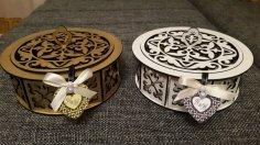 Laser Cut Decorative Wooden Round Box Candy Basket Free Vector