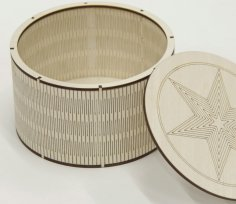 Laser Cut Engrave Round Wooden Box With Lid Flex Box DXF File