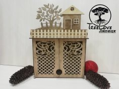 Laser Cut Key Cabinet Wooden Key Holder Box Wall Mounted Decorative Key Rack 3mm Free Vector