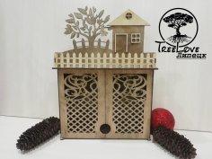 Laser Cut Key Cabinet Wooden Key Holder Box Wall Mounted Decorative Key Rack 3mm Free Vector