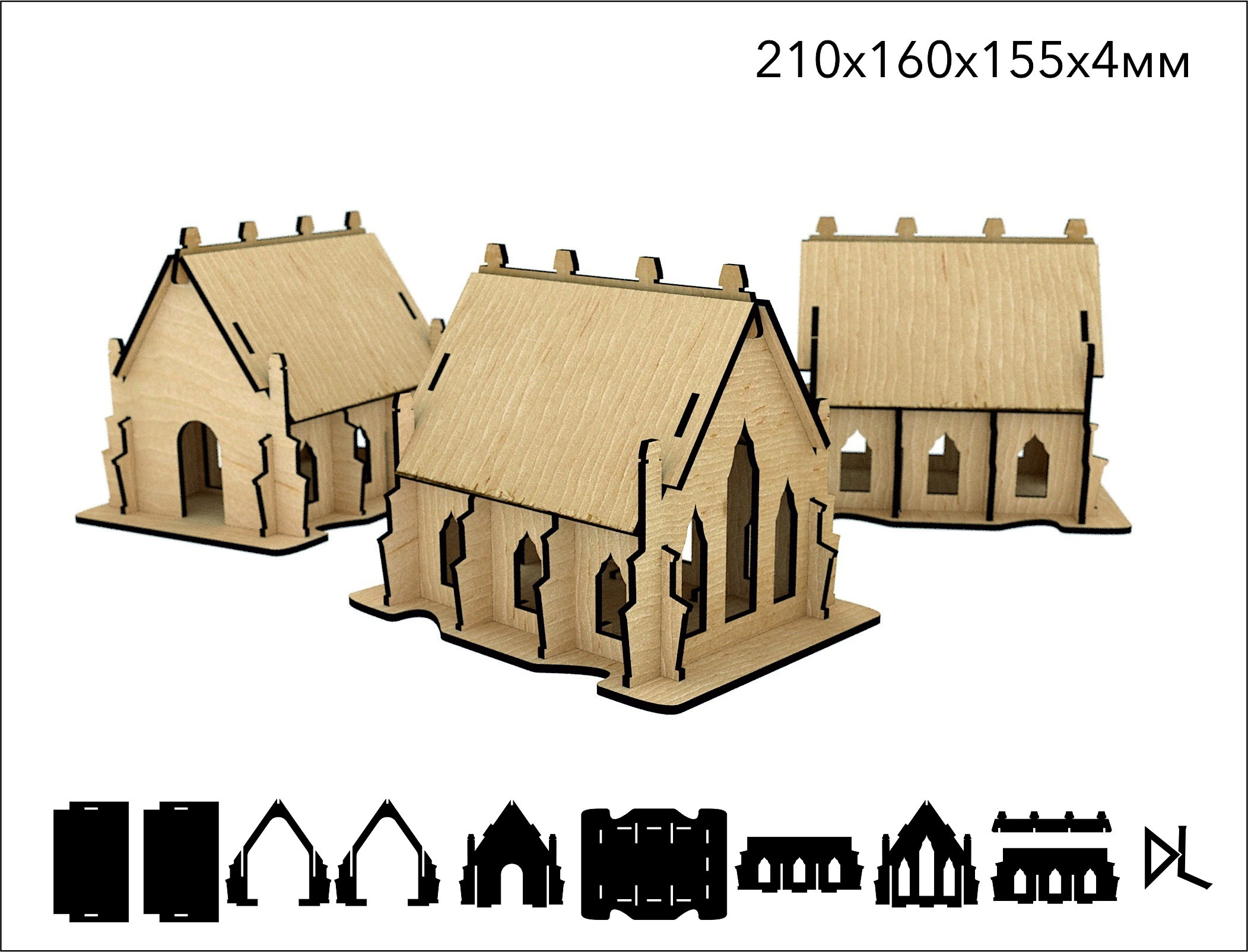 Laser Cut Wooden Cathedral 3D Model 4mm Free Vector
