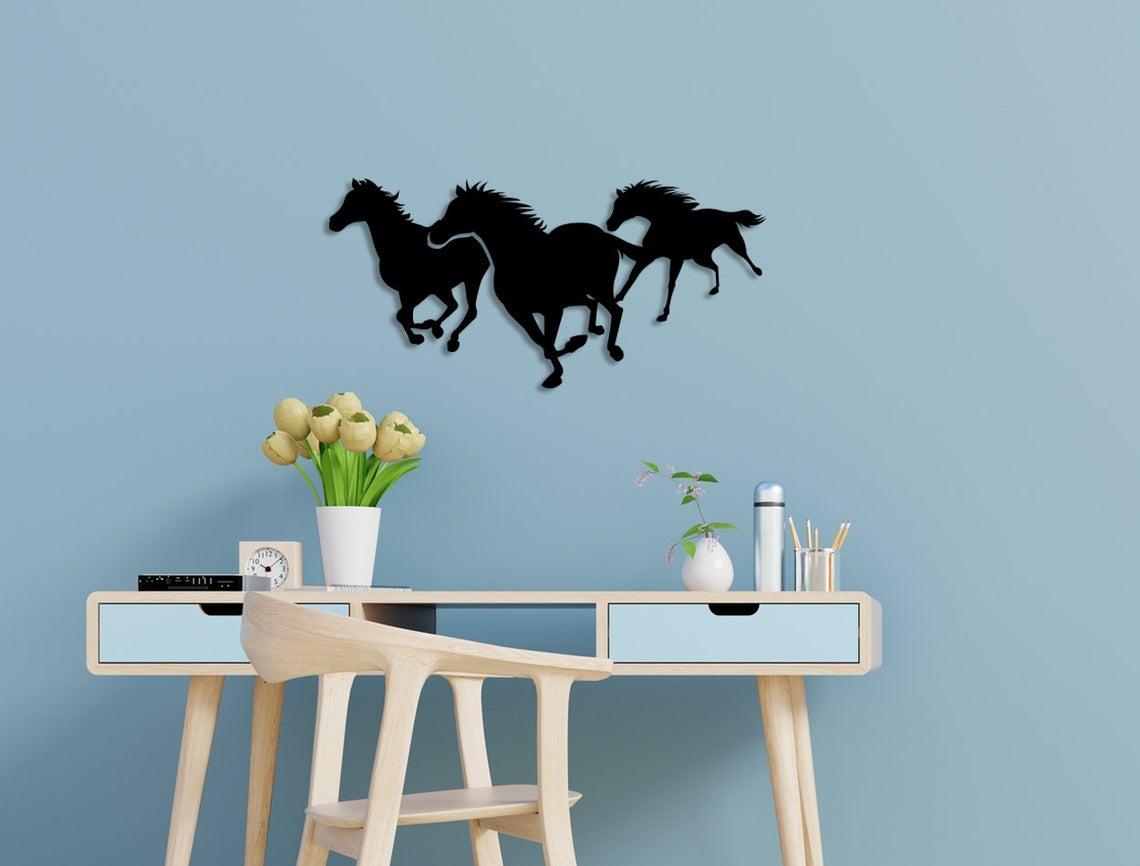 Laser Cut Running Horses Wall Art Free Vector