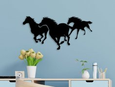 Laser Cut Running Horses Wall Art Free Vector