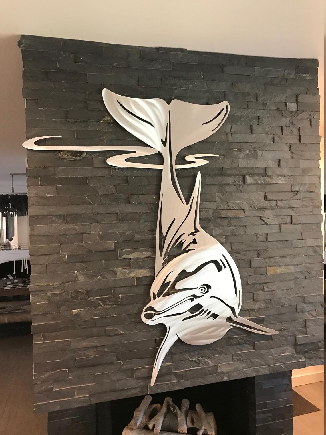 Laser Cut Dolphin Wall Decor Free Vector