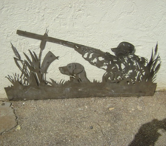 Laser Cut Hunter With Dog Wall Panel DXF File