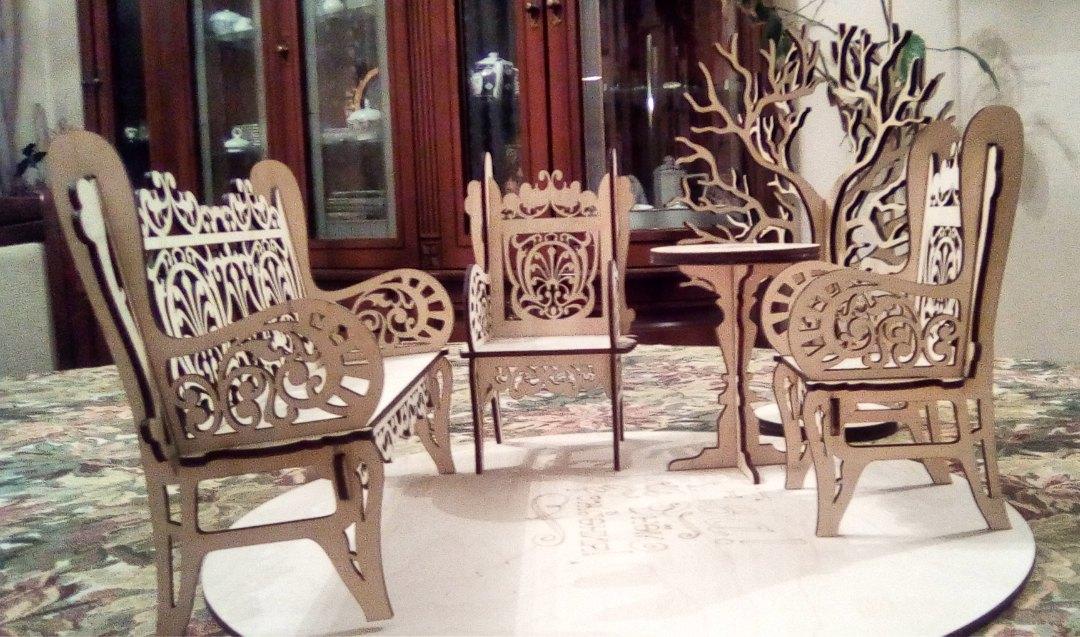 Laser Cut Chair Bench Sofa 3mm Free Vector