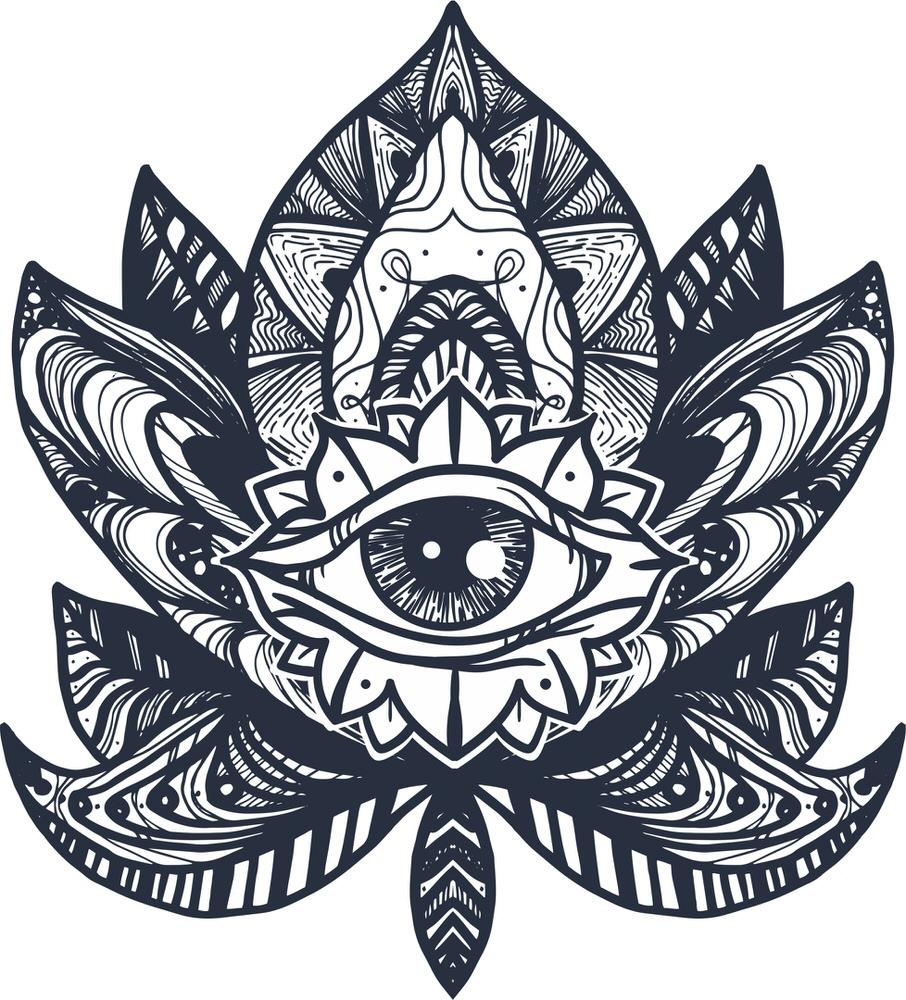 Eye Lotus Tattoo Free Vector