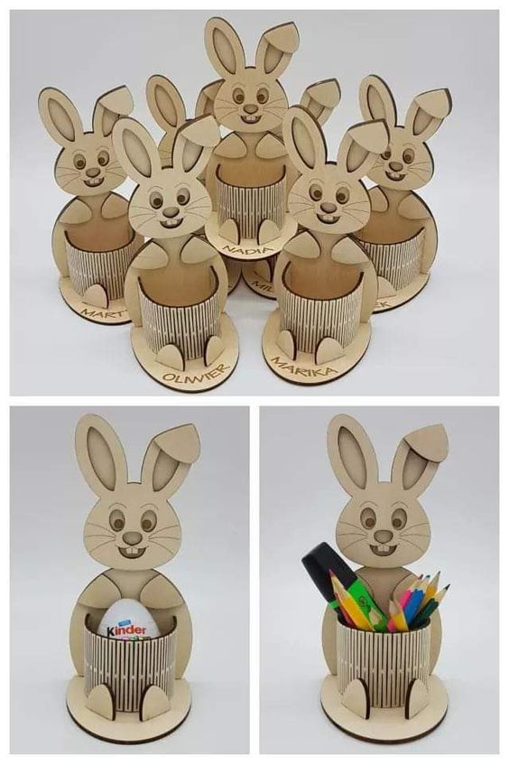 Laser Cut Bunny Egg Holder Free Vector
