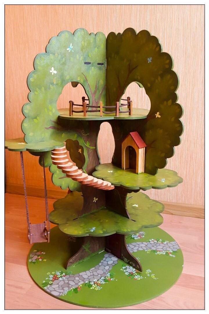 Laser Cut Tree House Model Kit Free Vector