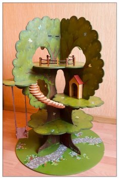 Laser Cut Tree House Model Kit Free Vector