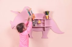 Laser Cut Dinosaur Shelf Furniture DXF File