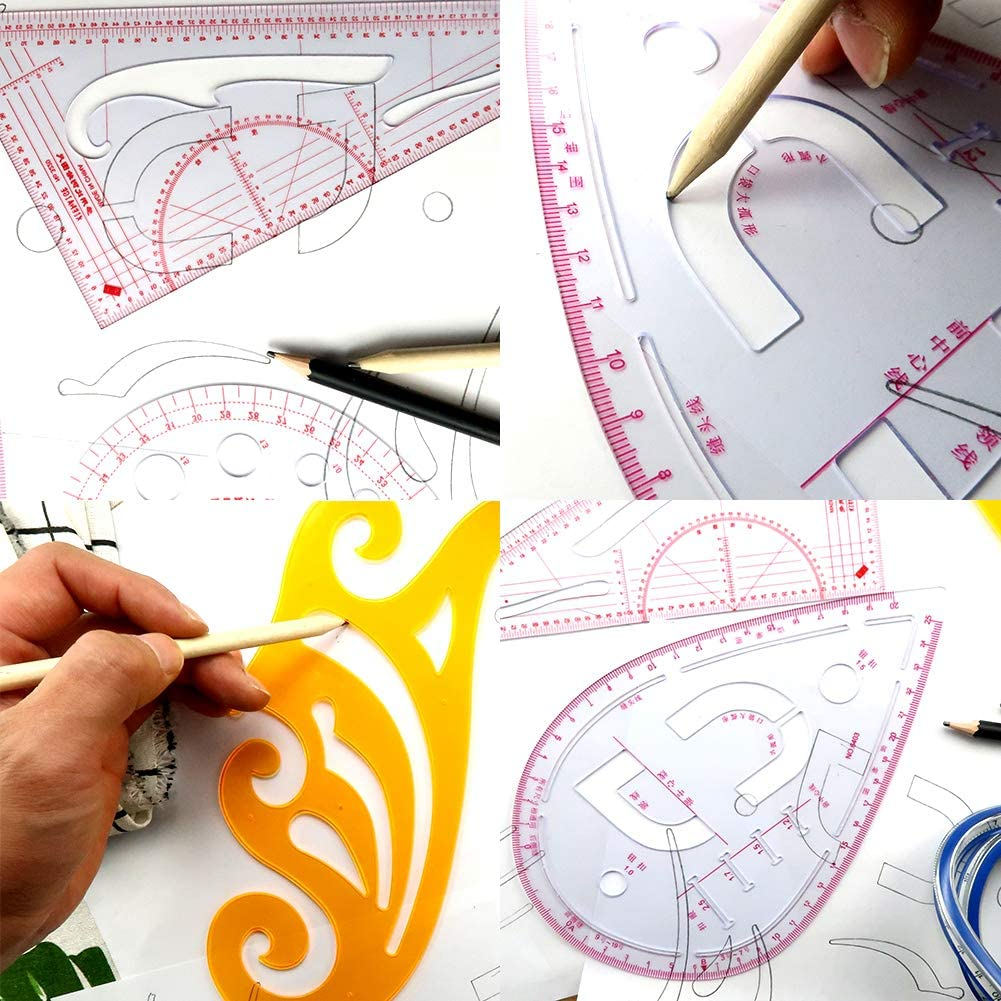 Laser Cut Sewing Ruler Tailor Set French Curve Ruler Tailor Fashion Measuring Kit Free Vector