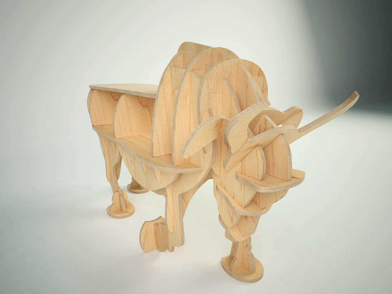 Laser Cut Bull 3D Wooden Puzzle Free Vector