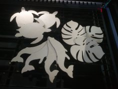 Laser Cut Turtle Whale And Monstera Leaf Free Vector