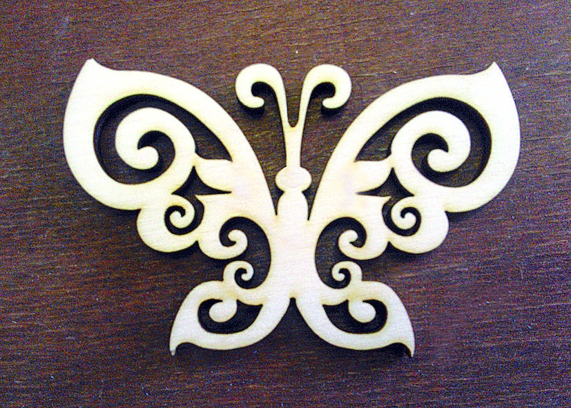 Laser Cut Butterfly Shape Plywood Free Vector