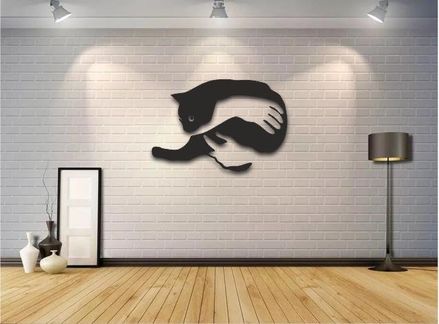 Laser Cut Cat Wall Art Free Vector