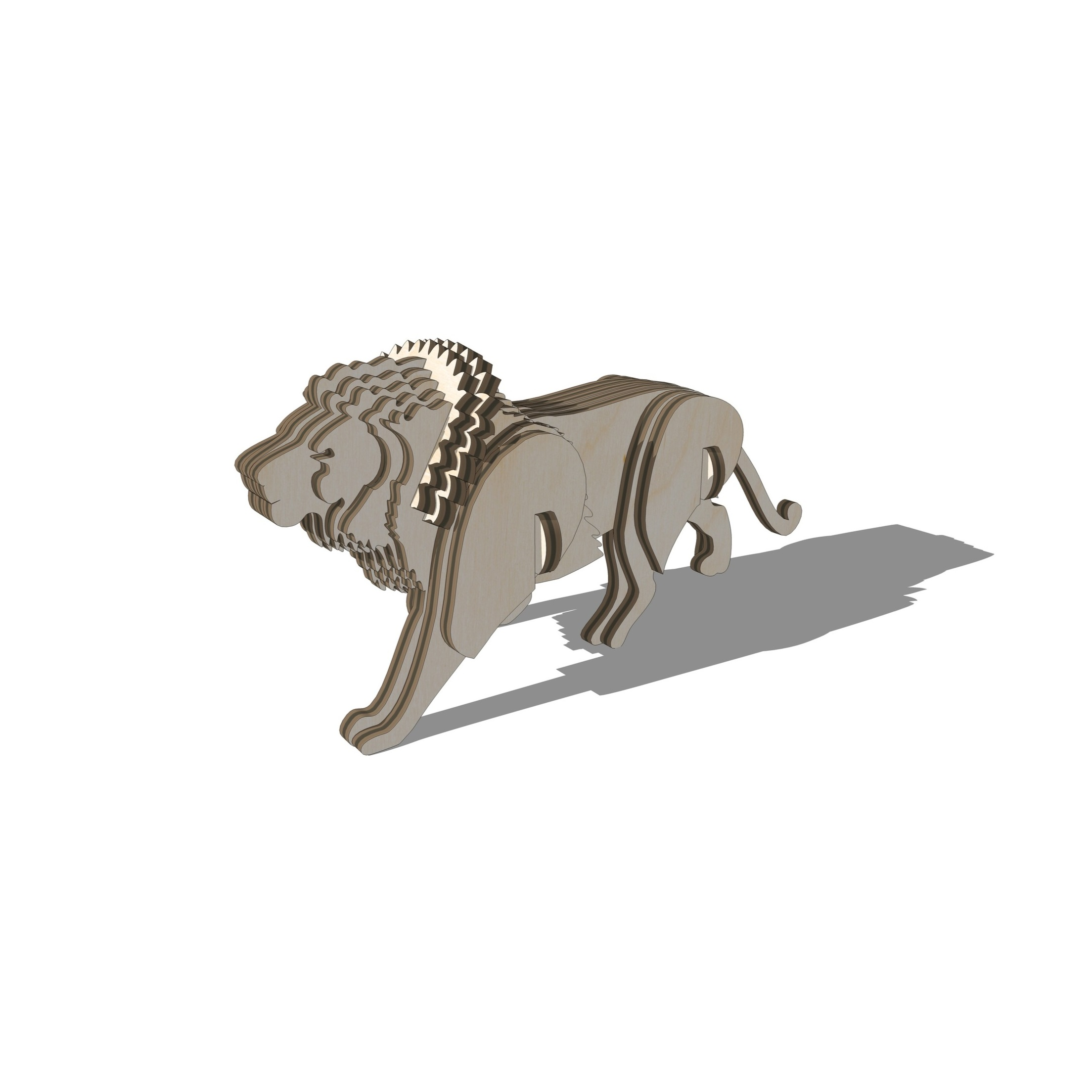 Laser Cut Lion 3D Puzzle DXF File