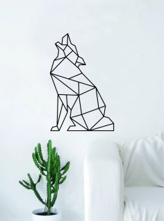 Laser Cut Geometric Wolf Howling Animal Wall Decor Art DXF File