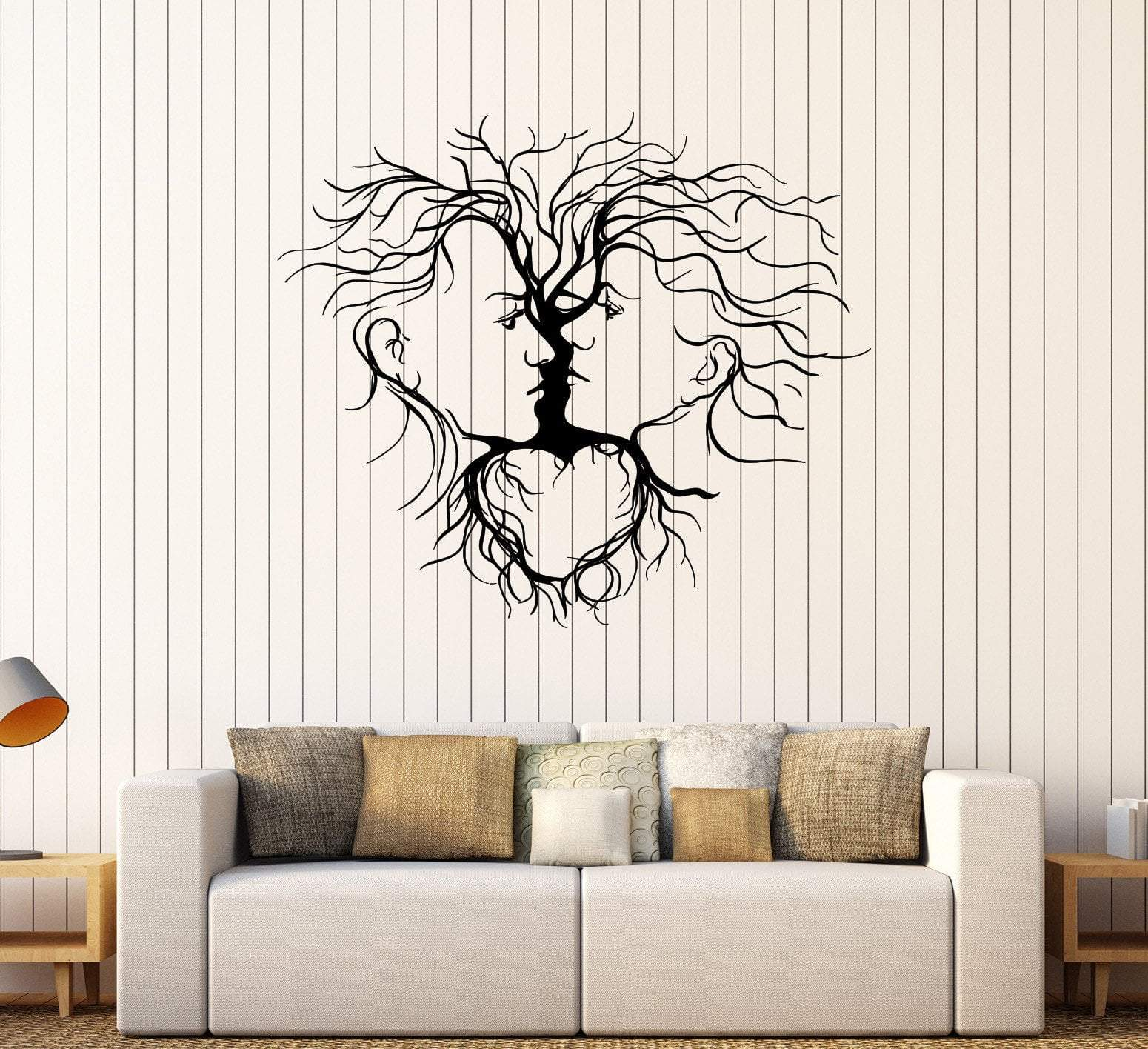 Laser Cut Loving Couple Abstract Tree Wall Decor DXF File