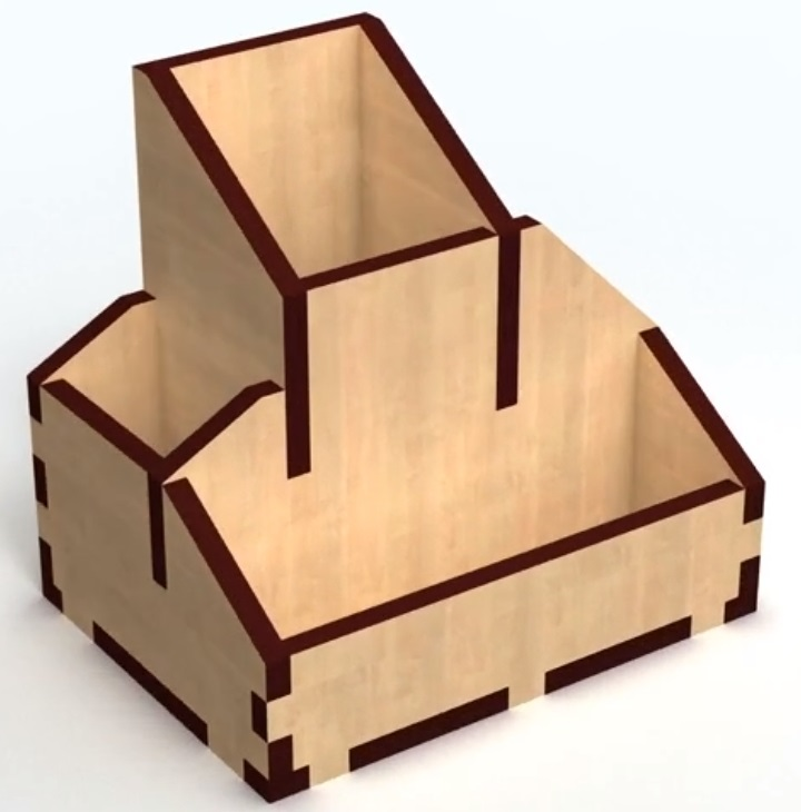 Laser Cut Wooden Simple Pen Holder Storage Box 6mm Free Vector