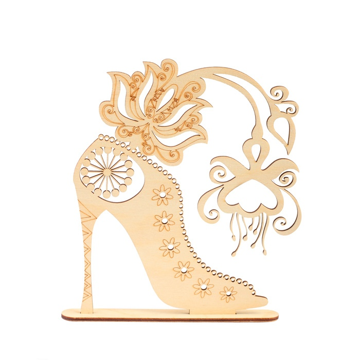 Laser Cut High Heel Jewelry Stand Free Vector