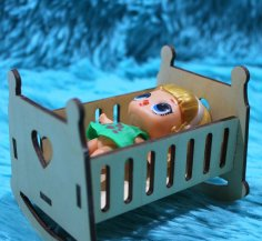 Laser Cut Wooden Doll Crib Rocking Bed Free Vector
