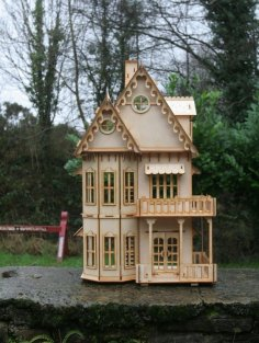 Laser Cut Wooden Gothic House Mini Two Floor Dollhouse DXF File