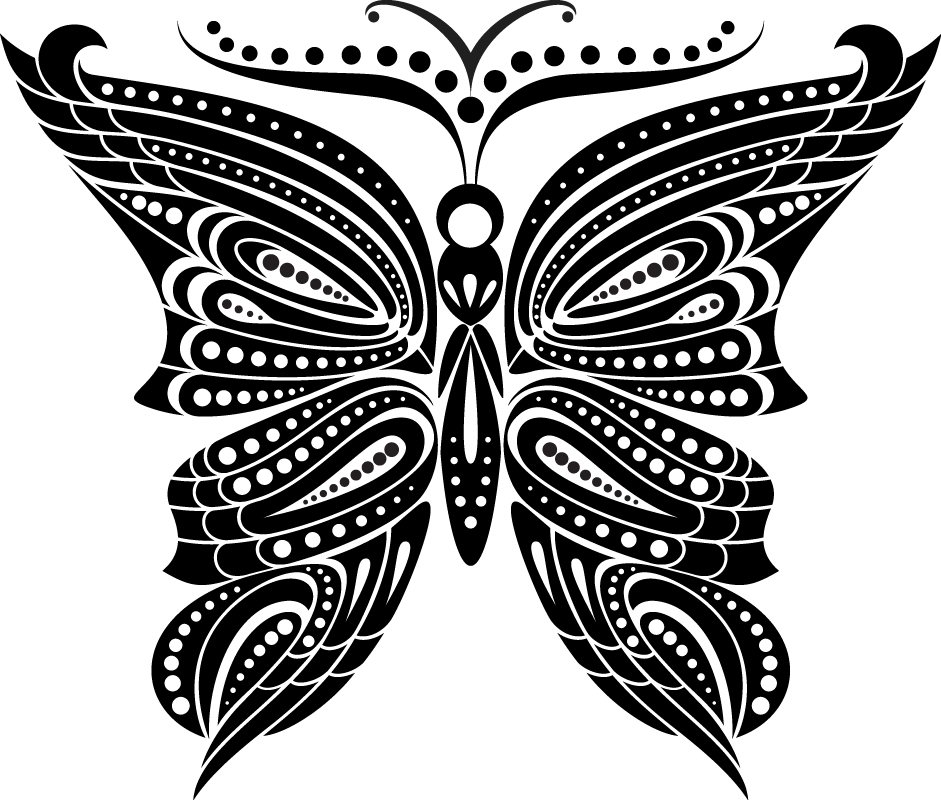 Tattoo Art Butterfly for Design and Decoration Free Vector